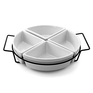 Gibson Gracious Fine Ceramic Dining Four Section Tray Set with Metal Rack in White, , large