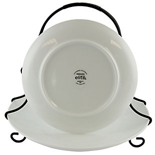 Gibson Elite Splendid Grace 2 Tiered Serving Set with Metal Rack in  White, , large