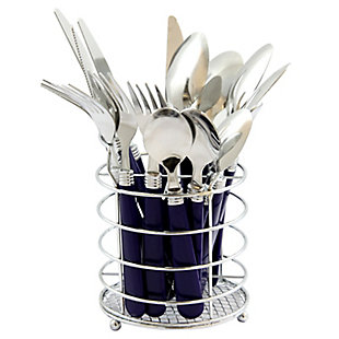 Gibson Sensations II 16 Piece Stainless Steel Flatware Set with Cobalt Handles and Chrome Caddy, , large