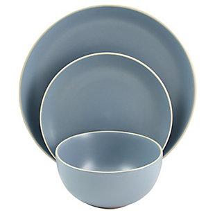 Gibson Home Rockaway 12 Piece Stoneware Dinnerware Set In Matte Teal, Blue, large