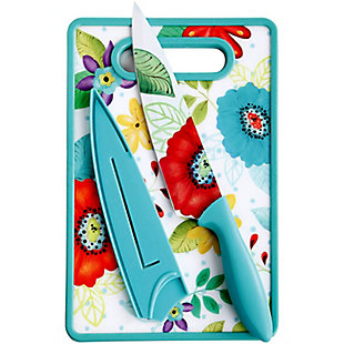 Studio California Jordana 3 Piece Cutlery Knife and Cutting Board Set in Turquoise Floral Pattern, , large
