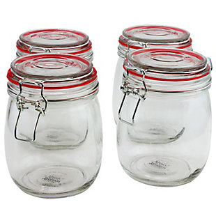General Store Cottage Chic 4 Piece 22 oz. Preserving/Storage Jar Set with Wire Bail and Trigger Closure, , large