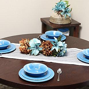 Studio California Mauna 12-Piece Dinnerware Set in Cobalt Blue Crackle Look Decal, Blue, rollover