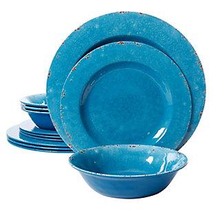 Studio California Mauna 12-Piece Dinnerware Set in Cobalt Blue Crackle Look Decal, Blue, large
