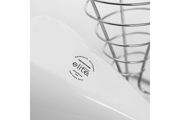 Gibson Elite Gracious Dining Porcelain 8 Inch French Fry Bucket in White, , large