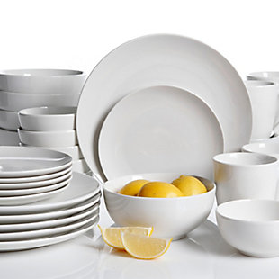 Gibson Home Ogalla 30 Piece Porcelain Dinnerware Set in White, , rollover