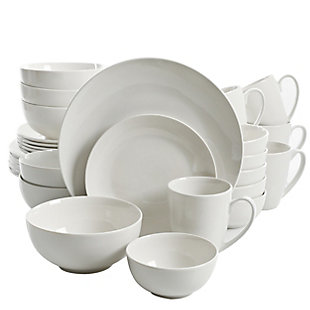 Gibson Home Ogalla 30 Piece Porcelain Dinnerware Set in White, , large