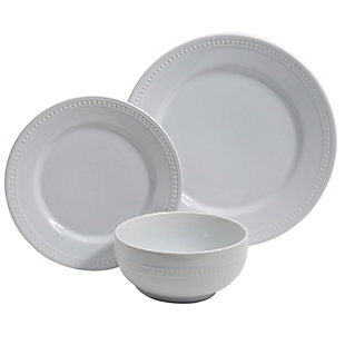 Gibson Home Royal Palace 12 Piece Ceramic Dinnerware Set in Embossed White, , large