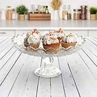"""Gibson Home Jewelite 11.5"""" Footed Cake Platter, Clear, , rollover"""
