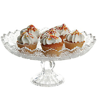 """Gibson Home Jewelite 11.5"""" Footed Cake Platter, Clear, , large"""