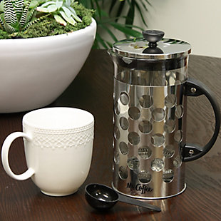 Mr. Coffee Polka Dot Brew 32 oz Silver Glass Coffee Press with Scoop, , rollover