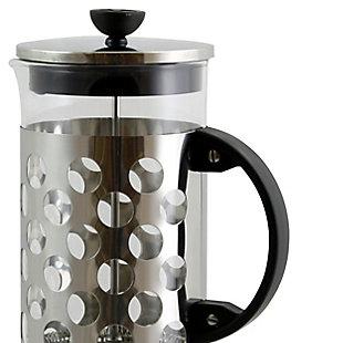 Mr. Coffee Polka Dot Brew 32 oz Silver Glass Coffee Press with Scoop, , large
