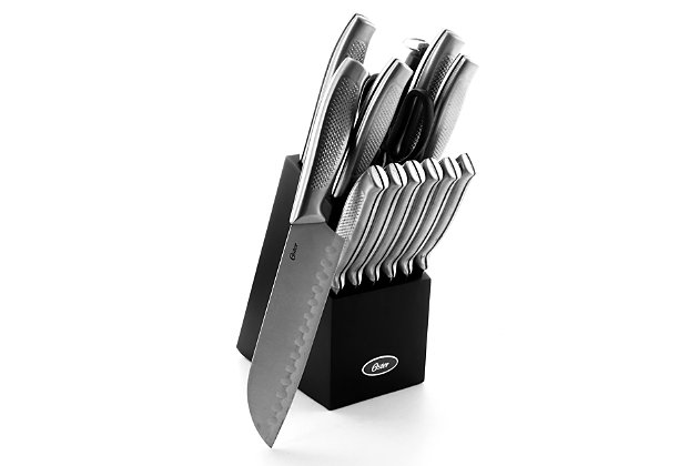 Oster Edgefield 14 Piece Stainless Steel Cutlery Knife Set withBlack Knife Block, , large