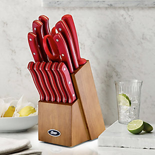 Oster Evansville 14 Piece Stainless Steel Cutlery Set with Red Handles, Red, rollover