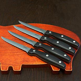 Oster Granger 4.5 in. Stainless Steel Blade Steak Knife Set in Black (4 Pack), , rollover