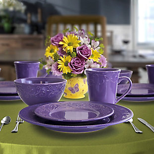 Elama Elama Lilac Fields 16-Piece Dinnerware Set, Purple, rollover