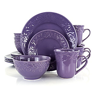 Elama Elama Lilac Fields 16-Piece Dinnerware Set, Purple, large