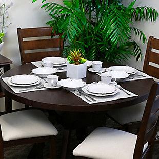 Elama Elama Fleur De Lys 20-Piece Dinnerware Set in White, White, rollover