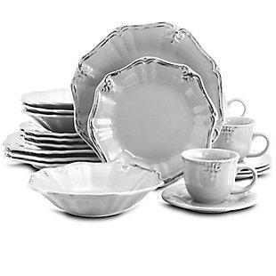 Elama Elama Fleur De Lys 20-Piece Dinnerware Set in White, White, large