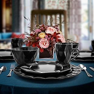 Elama Elama Retro Chic 16-Piece Glazed Dinnerware Set in Black, Black/Gray, rollover