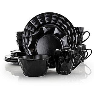 Elama Elama Retro Chic 16-Piece Glazed Dinnerware Set in Black, Black/Gray, large