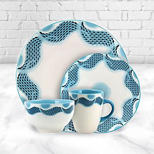 Elama Elama Seashore Breeze 16 Piece Service for 4 Stoneware Dinnerware Set, , rollover