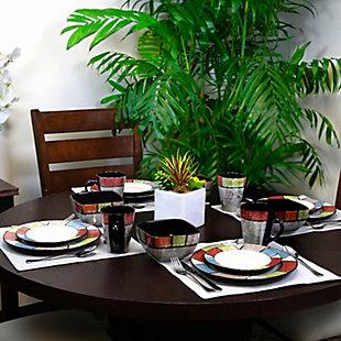 Elama Elama Country Cottage 16 Piece Stoneware Dinnerware Set, , rollover