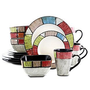 Elama Elama Country Cottage 16 Piece Stoneware Dinnerware Set, , large