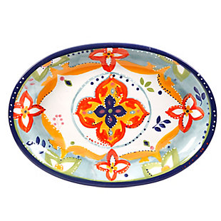 Gibson Elite Fiore Olivetti 15.75 in. Oval Serving Platter, Multicolor, , large