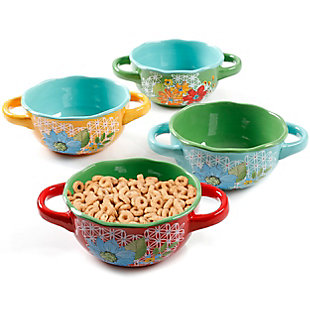 Laurie Gates Daisie Collection Soup Bowl Set with Handles, Set of 4 Assorted Colors, , rollover