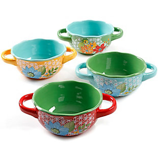 Laurie Gates Daisie Collection Soup Bowl Set with Handles, Set of 4 Assorted Colors, , large