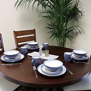 Gibson Elite Serene Fountain 16-Piece Dinnerware Set, Blue, , rollover