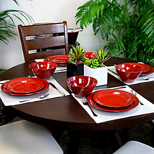 Gibson Elite Terranea 12 Piece Dinnerware Set in Red, Red, rollover