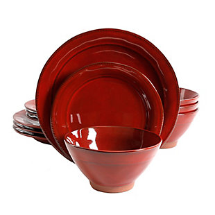 Gibson Elite Terranea 12 Piece Dinnerware Set in Red, Red, large