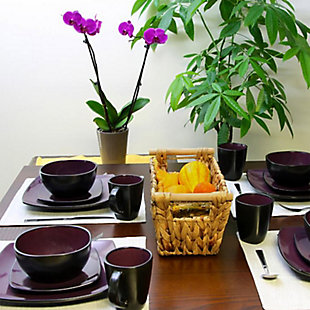 Gibson Elite Soho Lounge 16 Piece Soft Square Stoneware Dinnerware Set in Purple, , rollover