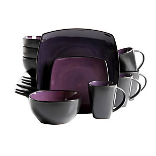 Gibson Elite Soho Lounge 16 Piece Soft Square Stoneware Dinnerware Set in Purple, , large