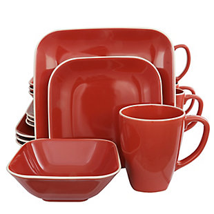 Gibson Home Square Dance 16-Piece Dinnerware Set, Red, Red, large