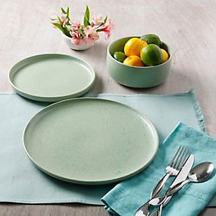 Gibson Home Stone Lava 12 Piece Dinnerware Set in Matte Mint, Service for 4, Green, rollover