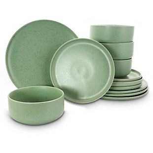 Gibson Home Stone Lava 12 Piece Dinnerware Set in Matte Mint, Service for 4, Green, large