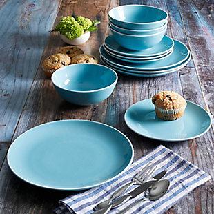 Gibson Home Pandora 12 Piece Ceramic Dinnerware Set in Blue, , rollover