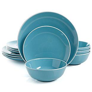 Gibson Home Pandora 12 Piece Ceramic Dinnerware Set in Blue, , large