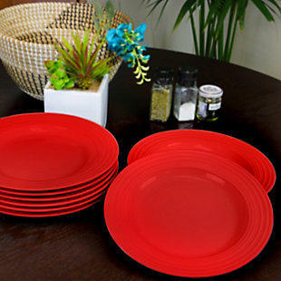 """Gibson Home Plaza Cafe 10.5"""" Dinner Plate Set in Red, Set of 8, Red, rollover"""