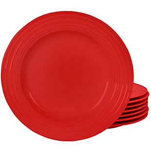 """Gibson Home Plaza Cafe 10.5"""" Dinner Plate Set in Red, Set of 8, Red, large"""