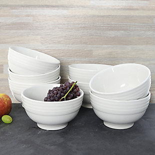 Gibson Home Plaza Cafe 8 Piece 6 Inch Stoneware Bowl Set in White, , rollover