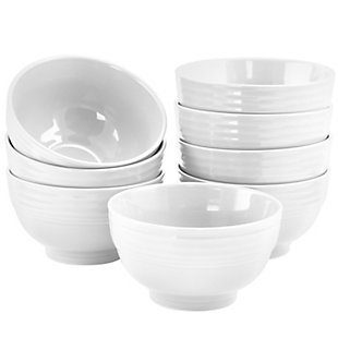 Gibson Home Plaza Cafe 8 Piece 6 Inch Stoneware Bowl Set in White, , large