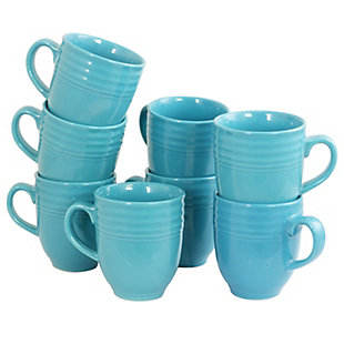 Gibson Home Plaza Cafe Eight Piece 15 Ounce Mug Set in Turquoise, Green, large
