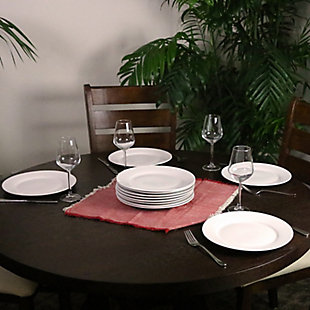"""Gibson Home Noble Court 10.5"""" Dinner Plate Set in White, Set of 12, , rollover"""