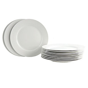 """Gibson Home Noble Court 10.5"""" Dinner Plate Set in White, Set of 12, , large"""