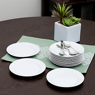 Gibson Home Noble Court 7.5 inch Dessert Plate Set in White, Set of 12, , rollover