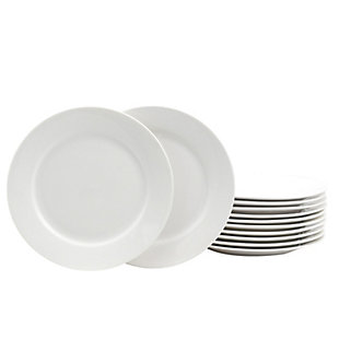 Gibson Home Noble Court 7.5 inch Dessert Plate Set in White, Set of 12, , large